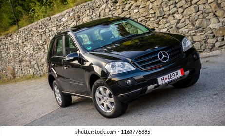 Cluj Napoca/Romania-August 24, 2018: Mercedes Benz ML 320 CDI 4 Matic-2007,Avantgarde equipment,black anthracite leather interior,Sunroof, isolated,Sport edition,Aluminium trims, tinted windows-AMG