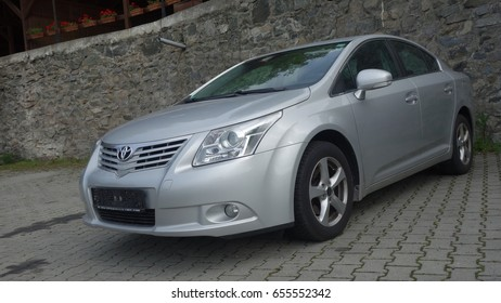 Cluj Napoca/Romania-May 9, 2017: Toyota Avensis Sedan Executive - year 2010, Facelift equipment, Silver metallic,  alloy wheels, chrome ornaments, rain sensors, fog lights, executive, front view
