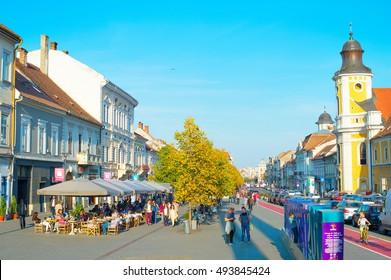 CLUJ NAPOKA, ROMANIA - OCT 2, 2016: People on the central street of Cluj Napoka - the unofficial capital of Transylvania.