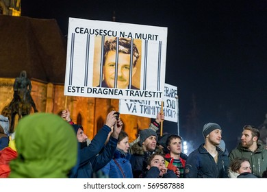 CLUJ, ROMANIA - FEBRUARY 1: Protests in Cluj Napoca, Romania. Government plans to pardon prisoners. On Feb 1, 2017 in Cluj, Romania.