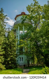 Cluj, Romania - July 27, 2018 : The water tower of the botanical gardens of Cluj, Romania