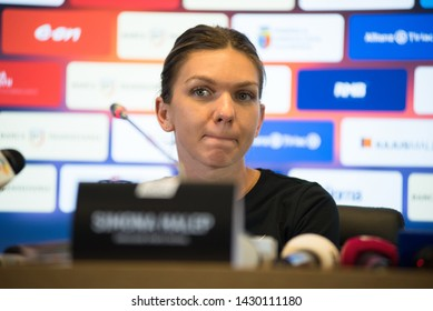 CLUJ, ROMANIA - JUNE 14, 2019: Romanian tennis player Simona Halep answering questions during the press conference before the friendly tennis match against Daniela Hantuchova at Sports Festival
