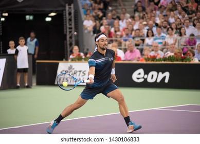 CLUJ, ROMANIA - JUNE 15, 2019: Tennis player Fabio Fognini playing against Marius Copil during the Sports Festival