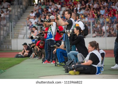 CLUJ, ROMANIA - JUNE 16, 2018: Press, photographers and cameramen shooting and recording during a soccer match between Barcelona Legends and Romanian Golden Team