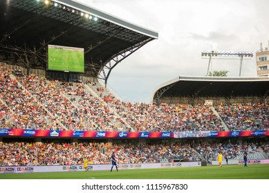 CLUJ, ROMANIA - JUNE 16, 2018: Romanian Football Golden Team playing a friendly match against Barcelona Legends during the Sports Festival