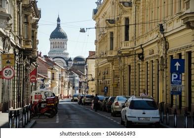 Cluj / Romania - June 2014: Walking in a lonely street