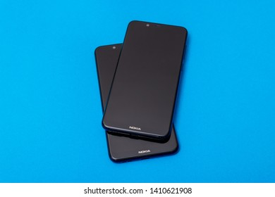 Cluj, Romania - May 13, 2019: Nokia smartphone made by Nokia Corporation, a Finnish multinational telecommunications, information technology, and consumer electronics company own by HMD Global Oy.