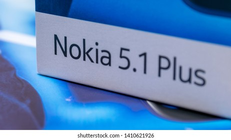 Cluj, Romania - May 13, 2019: Nokia 5.1 Plus smartphone box made by Nokia Corporation, a telecommunications, information technology, and consumer electronics company own by HMD Global Oy.