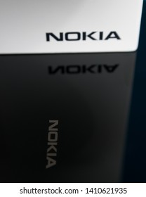 Cluj, Romania - May 13, 2019: Nokia logo on a smartphone box made by Nokia Corporation, a telecommunications, information technology, and consumer electronics company own by HMD Global Oy.