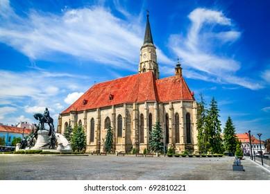 Cluj, Romania. Medieval St. Michael's Church and Union Square in Cluj-Napoca, Transylvania.