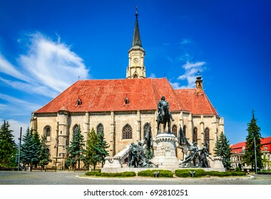 Cluj, Romania. Medieval St. Michael's Church and Union Square in Cluj-Napoca, Transylvania.