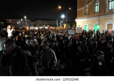 CLUJ, ROMANIA - NOVEMBER 8: Romanians protest against Victor Ponta because Romanians abroad were stopped from voting by the Socialist Government. On Nov 8, 2014 in Cluj, Romania