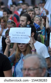 CLUJ -SEPT 8: People join a protest against the Romanian Government that passed a law allowing the gold extraction project at Rosia Montana against the people's will. On Sept 8, 2013 in Cluj, Romania