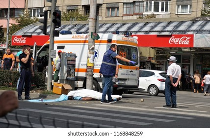 Cluj-Napoca, Cluj / Romania - August 31 2018: Today a man died in Cluj-Napoca. He was crossing the street in Piata Marasti, when he just fell down and has had his last breath.