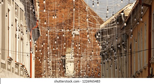 Cluj-Napoca, Cluj / Romania - November 5 2018 Christmas decoration on the streets of Cluj Napoca. A net of lights in the centre of the city.