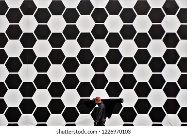 Cluj-Napoca, Cluj / Romania - October 29 2018: A beautiful pattern in the background on a temporary building in Piata Unirii in Cluj Napoca, built during a design show.