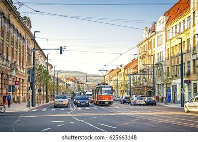 CLUJ-NAPOCA, ROMANIA - 08 September 2016: Streets in the centre of Cluj-Napoca