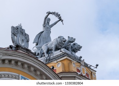 CLUJ-NAPOCA, ROMANIA - 24 MARCH, 2018: Sculptures on top of The National Theatre of Cluj-Napoca, Romania