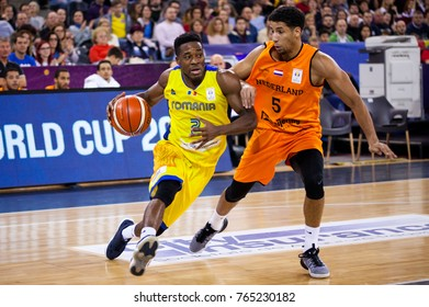 CLUJ-NAPOCA, ROMANIA - 26 November 2017:Lee Watson (L) of Romania and Anthony Williams of Netherlands in action during FIBA Basketball World Cup 2019 qualifier game between Romania and Netherlands, Cl