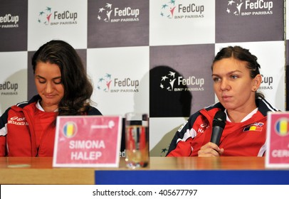 CLUJ-NAPOCA, ROMANIA - APRIL 13, 2016: Tennis players Simona Halep and Monica Niculescu answering questions during the press conference before Tennis Fed Cup World Cup Play-Offs match against Germany