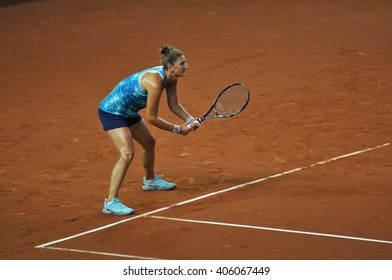 CLUJ-NAPOCA, ROMANIA - APRIL 15, 2016: Romanian tennis player Irina Begu (WTA singles ranking 35) plays during the training before the match against Germany
