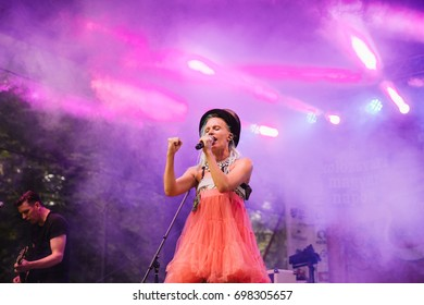 CLUJ-NAPOCA, ROMANIA - AUGUST 16, 2017: Pasztor Anna, the lead singer of Anna and the Barbies performs on stage at the Hungarian city days. Free concert for the people of Cluj-Napoca.