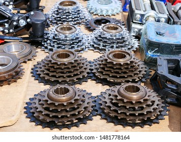 Cluj-Napoca, Romania - August 18, 2019: Collection of speed freewheels with  5 - 7 cogs for bicycle rear hub for sale at the flea market.