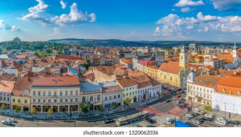 CLUJ-NAPOCA, ROMANIA - August 21, 2018: Cluj-Napoca panorama viewed from St. Michael's Church in   Cluj-Napoca, Romania
