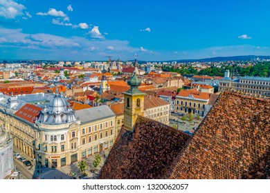 CLUJ-NAPOCA, ROMANIA - August 21, 2018: View from St. Michael's Church in Cluj-Napoca, Romania