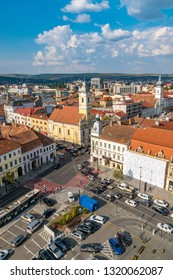 CLUJ-NAPOCA, ROMANIA - August 21, 2018: Cluj-Napoca overview viewed from St. Michael's Church with  Evangelical Church in the middle,  Cluj-Napoca, Romania
