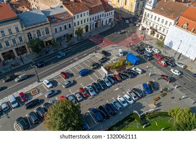 CLUJ-NAPOCA, ROMANIA - August 21, 2018: Cluj-Napoca parking in the center of the city, Cluj-Napoca, Romania