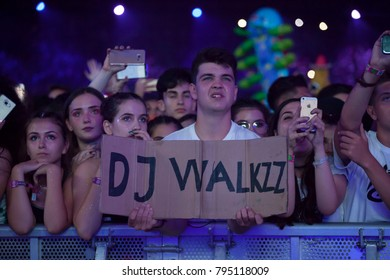Cluj-Napoca, Romania - August 6, 2017: Crowd of young fans of Martin Garrix, popular dutch DJ, waiting for the show at Untold Festival, the Best Major Music Festival of Europe