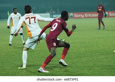 CLUJ-NAPOCA, ROMANIA - DECEMBER 8: Lacina Traore in action at a Champions League soccer game CFR Cluj vs. AS Roma, final score: 1-1, on December 8, 2010 in Cluj-Napoca, Romania.