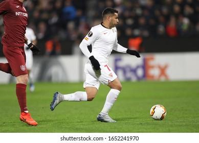 CLUJ-NAPOCA, ROMANIA - FEBRUARY 20, 2020:  Rony Lopes of FC Sevilla during the UEFA Europa League round of 32, football match between CFR 1907 Cluj and FC Sevilla at Constantin Radulescu Stadium