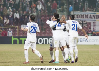 CLUJ-NAPOCA, ROMANIA - FEBRUARY 21: inter Milan players celebrationg after scoring a goal in UEFA Europa League match, CFR 1907 Cluj vs UInter Milan, on 21 February, 2013 in Cluj-Napoca, Romania