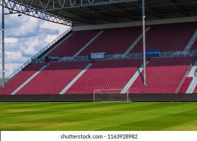 CLUJ-NAPOCA, ROMANIA - JULY 29, 2018: soccer field and tribune at Cluj Arena in Cluj, Transylvania