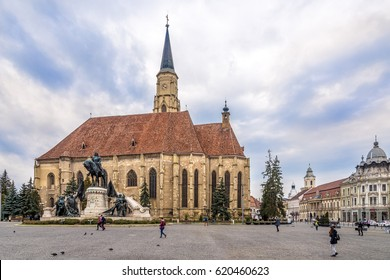 CLUJ-NAPOCA, ROMANIA - MARCH 20,2017 - Church of St.Michael with statue of Matei Corvin in Cluj - Napoca. Cluj-Napoca is located in the central part of Transylvania.