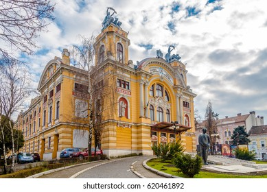 CLUJ-NAPOCA, ROMANIA - MARCH 20,2017 - View at the City Theatre of Cluj - Napoca. Cluj-Napoca is located in the central part of Transylvania.