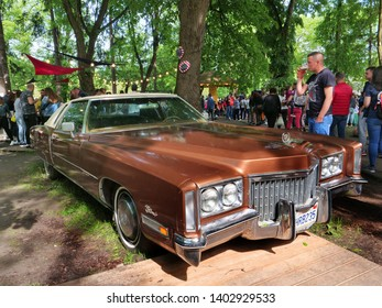 Cluj-Napoca, Romania - May 12, 2019: 1969 Cadillac Eldorado classic car on display in the park, Front view.