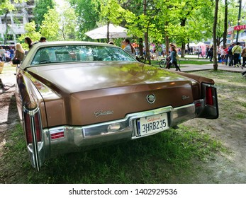 Cluj-Napoca, Romania - May 12, 2019: 1969 Cadillac Eldorado classic car on display in the park. Rear view.