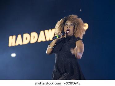 Cluj-Napoca, Romania - November 16, 2017: Snap!, a German Eurodance group performing on stage at We Love Retro Party, Cluj-Napoca, Romania