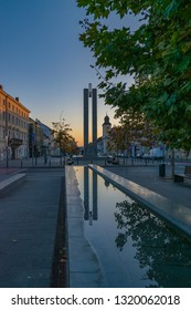 CLUJ-NAPOCA, ROMANIA - October 13, 2018: Cluj-Napoca city center. View from the Unirii Square to the Memorandum Monument and Eroilor Avenue, Heroes' Avenue - a central avenue in Cluj-Napoca, Romania