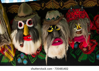 CLUJ-NAPOCA, ROMANIA - OCTOBER 15, 2017: Winter holidays traditional Christmas carnival mask, masque from Suceava, Bucovina, Romania are displayed during the Autumn Harvest festival