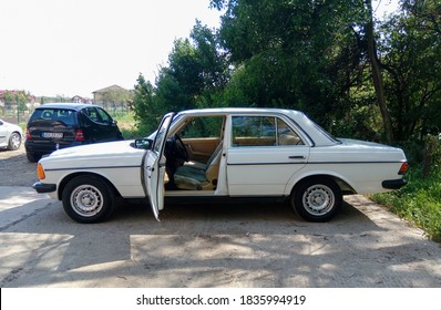 Cluj-Napoca, Romania - October 15, 2020: Mercedes Benz W123 Cobra with opened driver's door ready for fun drive