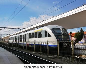 Cluj-Napoca, Romania - October 4, 2018: Siemens Desiro (Blue-arrow) commuter train stays in the railway station