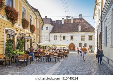 CLUJ-NAPOCA, ROMANIA - SEPTEMBER 08, 2016: Old Town of Cluj-Napoca, Transylvania, Romania