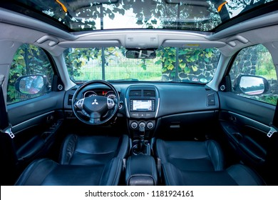 Cluj-Napoca, Romania -September 16, 2018 :2012 model year Mitshubishi ASX - Panoramic double sunroof with wind deflector, black colour