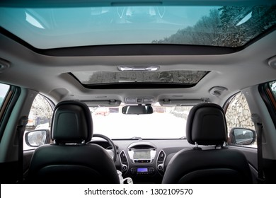 Cluj-Napoca, Romania-January 27, 2019 : Hyundai Tucson - IX 35 4wd, SUV 4x4, all terrain car luxurious leather interior with big navigation display and panoramic sunroof. Heated seats, automatic gear
