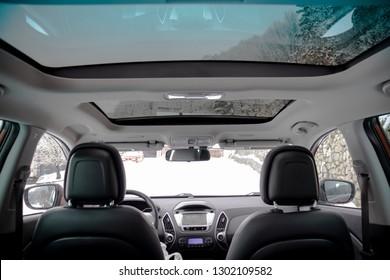 Cluj-Napoca, Romania-January 27, 2019 : Hyundai Tucson - IX 35 4wd, SUV 4x4, all terrain car luxurious leather interior with big navigation display and panoramic sunroof. Heated seats, automatic gear