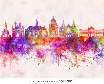 Cluj-Napoca skyline in watercolor background